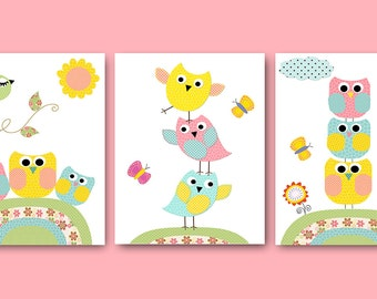 Kids Wall Art Owl Nursery Owl Decor Baby Nursery Decor Baby Girl Nursery Kids Art Baby Room Decor Nursery Print set of 3 Rose Yellow