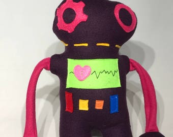 Purple Robot with Hot Pink Gears and Arms