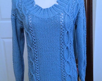 Blue cotton blend sweater no. 304