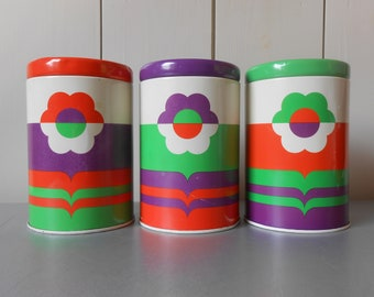 Set of three 1970s Vintage Kitchen Tins Containers Canisters in Purple Orange Green. Made in England. Retro Home Decor. Flowers Flower Print