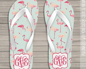 Flamingo monogram personalized flip flops  - great gift for birthday or Mother's Day MFF-001