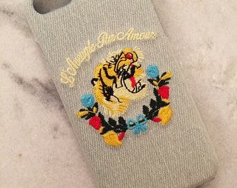 Luxury Custom Embroidered Tiger iPhone Case Blue