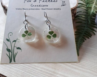 Shamrock earrings round resin real clover green leaves tiny