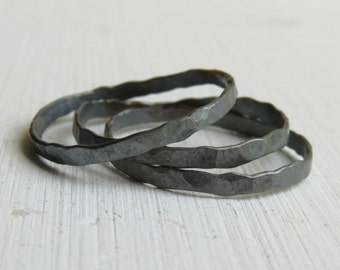 Set of 3 Sterling Silver Hammered Rings - black silver rings - Sterling Silver Stack Ring - silver ring band
