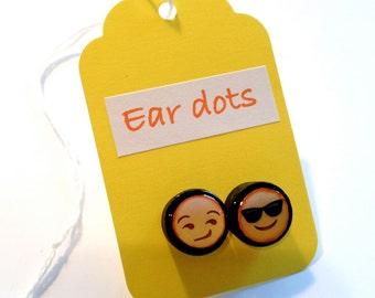 Cute Stud Earrings - Red - Wooden Earrings - Fun Emoji Studs - Small Gifts