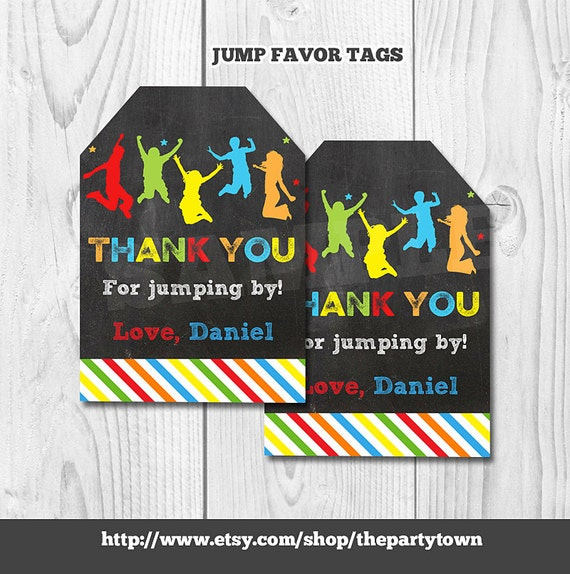 Jump Favor Tags Jump Gift Tags Bounce House Favor Tags Jump