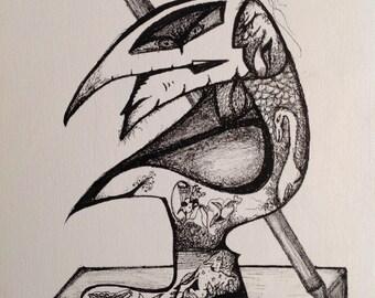 Sir Pensil Holdur ( 9 x 12 original drawing on canvas )