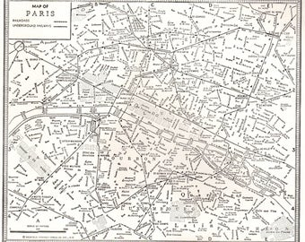 1944 antique map of paris france vintage paris map 1945 map black and white gallery wall art map collector gift for birthday wedding 7472