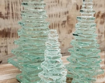 Recycled Glass Tall Trees set of 3