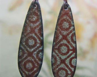 Brown and Aqua Enamel Earrings, Copper Enamel Earrings Handmade in North Carolina