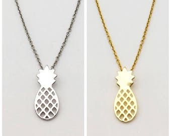 Necklace Pineapple Silver and gold Vermeil