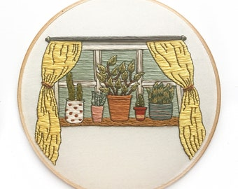 Window Sill House Plant Scene Hand Embroidery