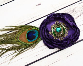 Handcrafted Steampunk Peacock Feather Hair Accessory - Purple and Green Hair Clip - Steampunk Cosplay - Peacock Wedding Hair Piece - Bows
