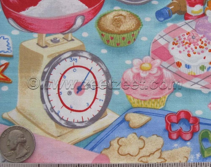 "Makower BAKE KITCHEN Multi 31.5"" x 45"" Remnant - Quilt Fabric - Rare & Out of Print -  BAKE Baking Collection Rare Out of Print"