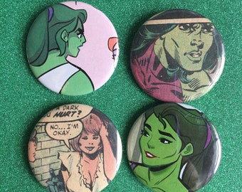 SHE HULK Button Set, one of a kind comic book button, upcycled comics,