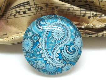 2 cabochons 14 mm glass Paisley shades blue 2-14 mm