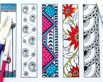 Printable bookmarks, bookmarks to color, Bookmarks colouring pages, digital bookmarks, adult coloring pages, henna doodles, DIY bookmark