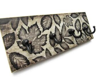 Dark Brown Decor Key Hook for Wall, New Home Gift  Key Rack, Leaf Wall Hooks, Wall Key Holder, Housewarming Gift, Hooks for Keys   (16)