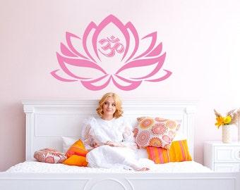 Lotus Flower With Om Sign Yoga Wall Decals - Wall Vinyl Decal - Interior Home Decor - Housewares Art Vinyl Sticker V999