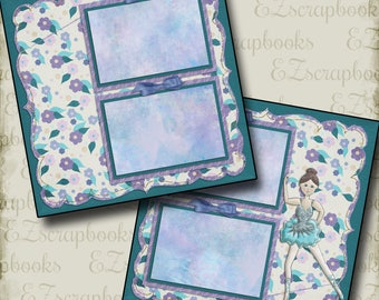 BLUE BALLERINA - 2 Premade Scrapbook Pages - EZ Layout 980