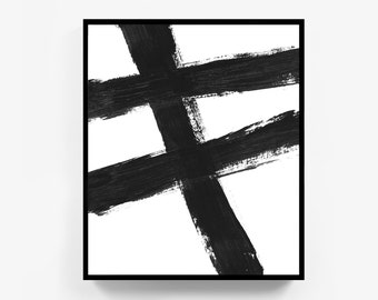 Large Abstract Painting, Black and White Abstract Print, Minimalist Decor, Black White Abstract Print, Abstract Art with Frame, Original Art