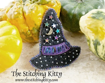 TSK02 - Moon and Stars Witch Hat Hand Embroidered Brooch/Ornament Kit (Makes 2)