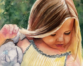 Girl art Child Children Portrait Print of my Watercolor Painting