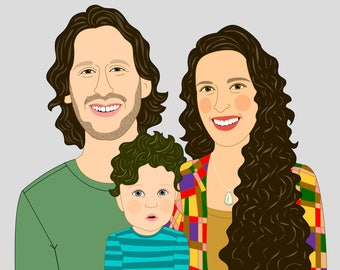 Portrait commission. Custom portrait. Custom illustration. Portrait from photo. Family portrait. Family cartoon. Family illustration.