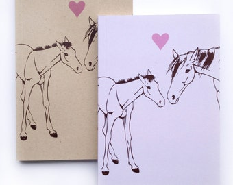 Small Horse journal, Blank Notebook, small sketchbook, Blank Journal, small blank sketch pocket book, Horse and pony love, Lavender notebook