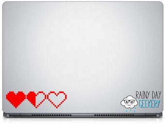 Pixel heart - life meter - vinyl decal  - great for car window - set of 3 hearts - life containers - one color