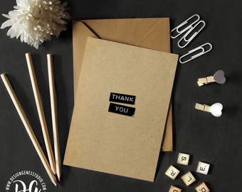 Minimalist thank you card, Rustic card, Thank you card, simply thank you, simple thank you card, black and white card, dymo label words