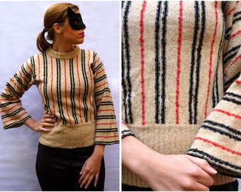 Vintage 1970's Camel, Black and Red Striped Pull-Over with Bell Sleeves by Dalton | Medium