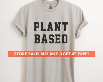 Plant Based T-Shirt, Ladies Unisex Crewneck Shirt, Cute Vegan T-shirt, Funny Vegan Shirt, Gift, Short & Long Sleeve T-shirt