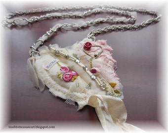 XoXo, Valentine Necklace, fabric jewelry, shabby chic necklace,on sale
