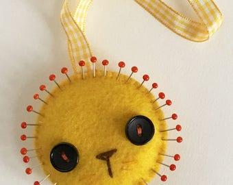 Yellow felt lion pincushion