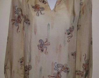 Early vintage Cavalli 70s silky Paisley tunic blouse