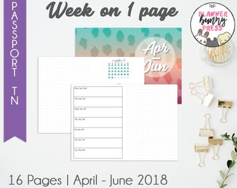 Week on 1 Page Apr - Jun '18 | PASSPORT TN | Digital Download | Travelers Notebook | April May June 2018 WO1P