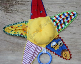 Baby Sensory Plush Toy, Primary Yellow, Red and Blue Texturede Fabrics, Gender Neutral Starfish with Rattle and Teething Ring