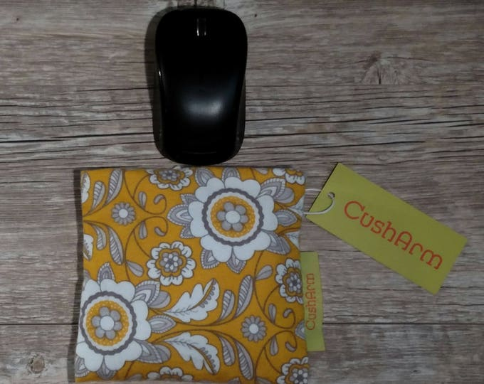 Yellow Floral  CushArm mini Computer Wrist Support, perfect for a stand up desk, Comfort and Support