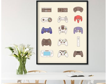 Video Game Controller, Video Game Poster, Video Game Decor, Game Room Decor, Xbox One Video Game Art Gift, Video Game Print, Nintendo Poster