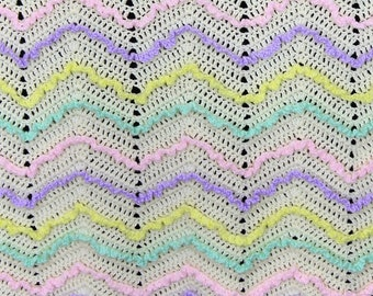 Crocheted baby blanket - Multi color lacy ripple
