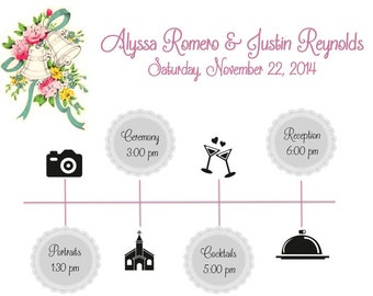 "PRINTABLE Wedding Weekend Itinerary WEDDING BELLS - Custom Printable 8.5x11"""