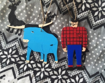 Paul Bunyan and Babe the Blue Ox Ornament