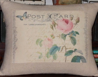 French Post Card Rose Pillow, Decorative Throw Pillow Cover, Cottage Shabby Chic Pillow