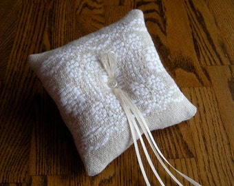 Ring Bearer Pillow, Wedding Ring Pillow, Handwoven Wedding Ring Cushion, Wedding Bearer Pillow, Rustic Ring Pillow, Country Wedding, Weaving