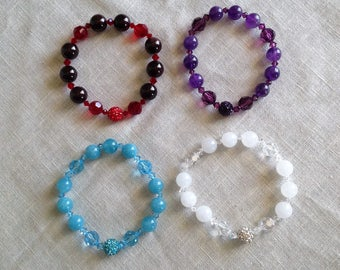 Birthstone Bracelets (January-April) Gemstones and Swarovski Crystals