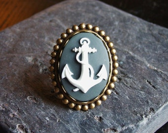 Nautical ring, anchor cameo ring, grey cameo ring, antique brass ring, cameo jewelry, holiday gift ideas, unique Christmas gift