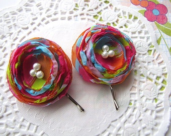Bobby pins with handmade chiffon flowers (set of 2 pcs) - COLORFUL and VIVID BLOSSOMS