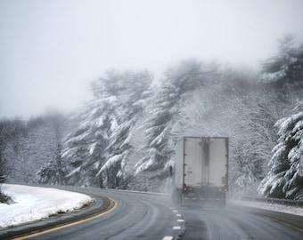Photograph Print - Snowy Highway - Bangor, Maine - Photography - Art - Winter - Snow - Driving - Highway