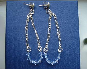 Light blue Swarovski elements crystals on silver chain stud earrings